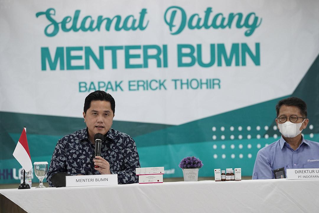 Menteri BUMN Erick Thohir menyatakan keyakinannya akan kemampuan PT Indofarma Tbk dalam memproduksi produk generik dari Ivermectin 12 mg secara massal.