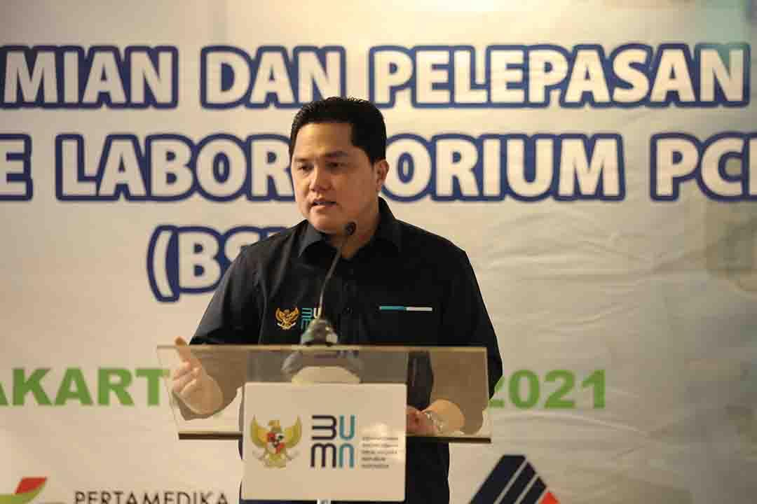 Menteri BUMN mengadiri acara Peresmian dan Pelepasan Mobile Laboratorium PCR (BSL-2) di Gedung Kementerian BUMN