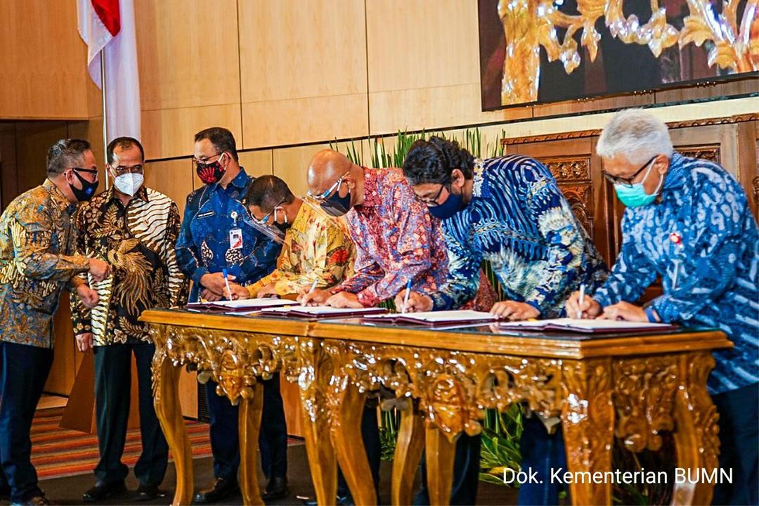 Penandatanganan Perjanjian Pemegang Saham perusahaan patungan yang akan mengelola  Sistem Integrasi Pembayaran Antar Moda Transportasi di Jabodetabek