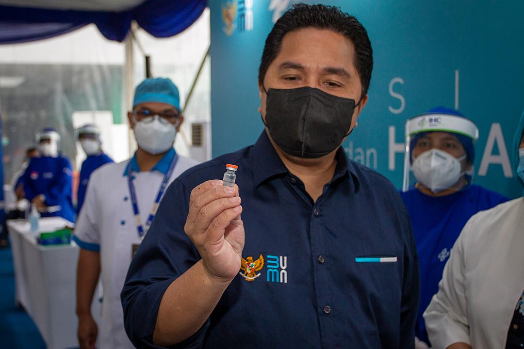 Tinjauan Menteri BUMN Erick Thohir ke RSPP, meninjau Vaksinasi  terhadapap Nakes