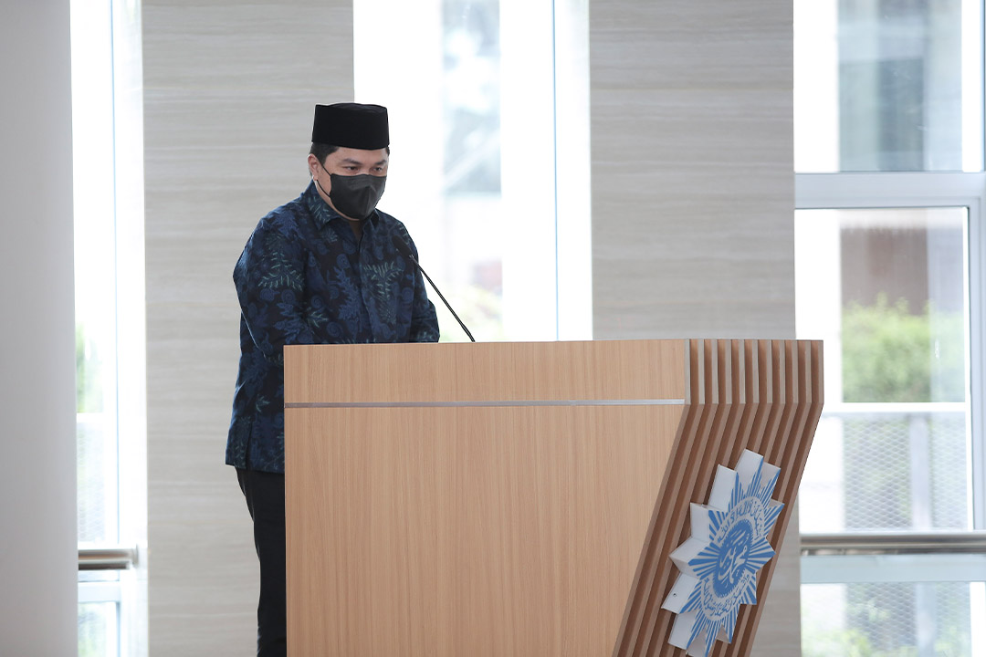 Menteri BUMN Erick Thohir menghadiri dan memberi sambutan dalam acara Peresmian Masjid At-Tanwir PP Muhammadiyah