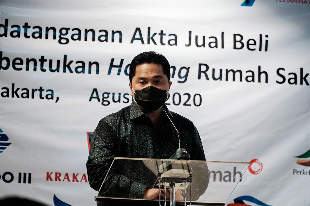 Acara Penandatangan Akta Jual Beli dengan Tujuh BUMN pemilik Rumah Sakit BUMN dalam rangka pembentukan holding rumah sakit BUMN