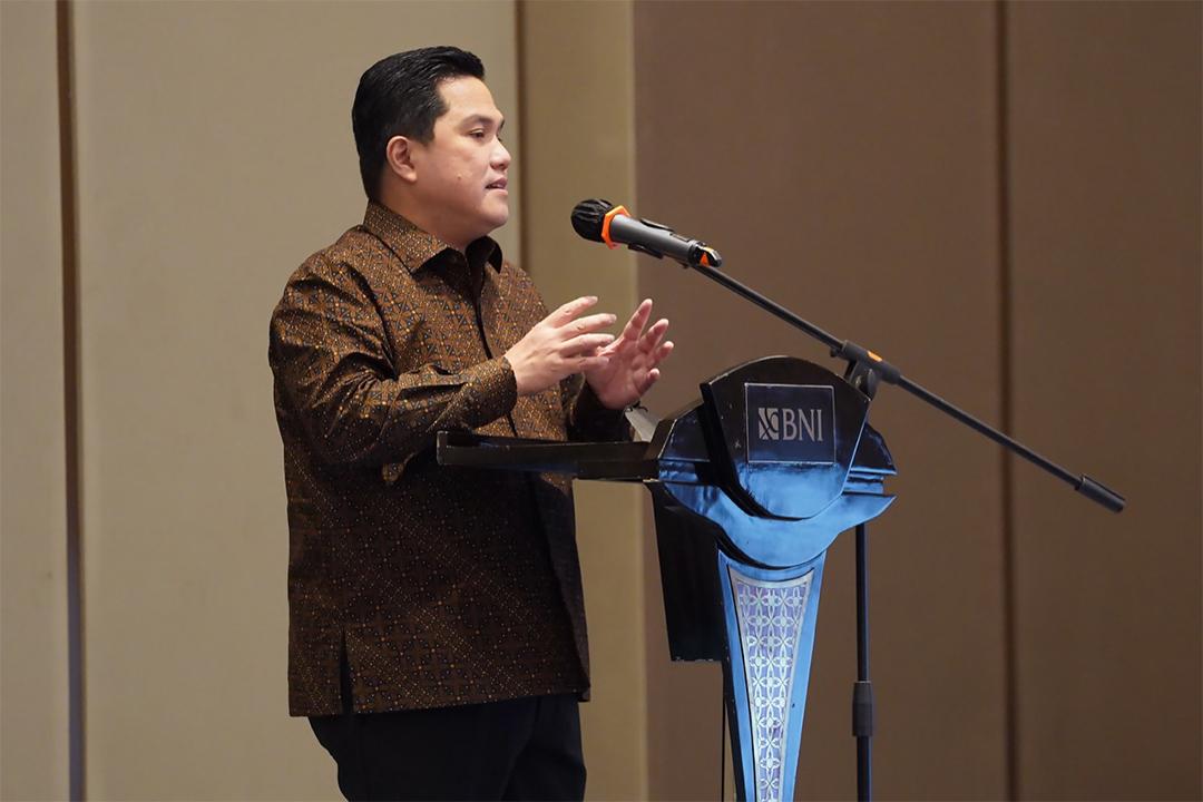 Menteri BUMN Erick Thohir hadir sebagai pembicara dalam acara Business Meeting BNI 2021 dan BNI Transformation Kick Off 2021 (27/1).