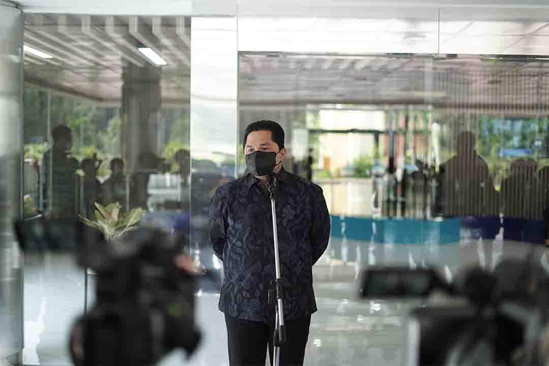Presscon Menteri BUMN di lobby gedung Kementerian BUMN.