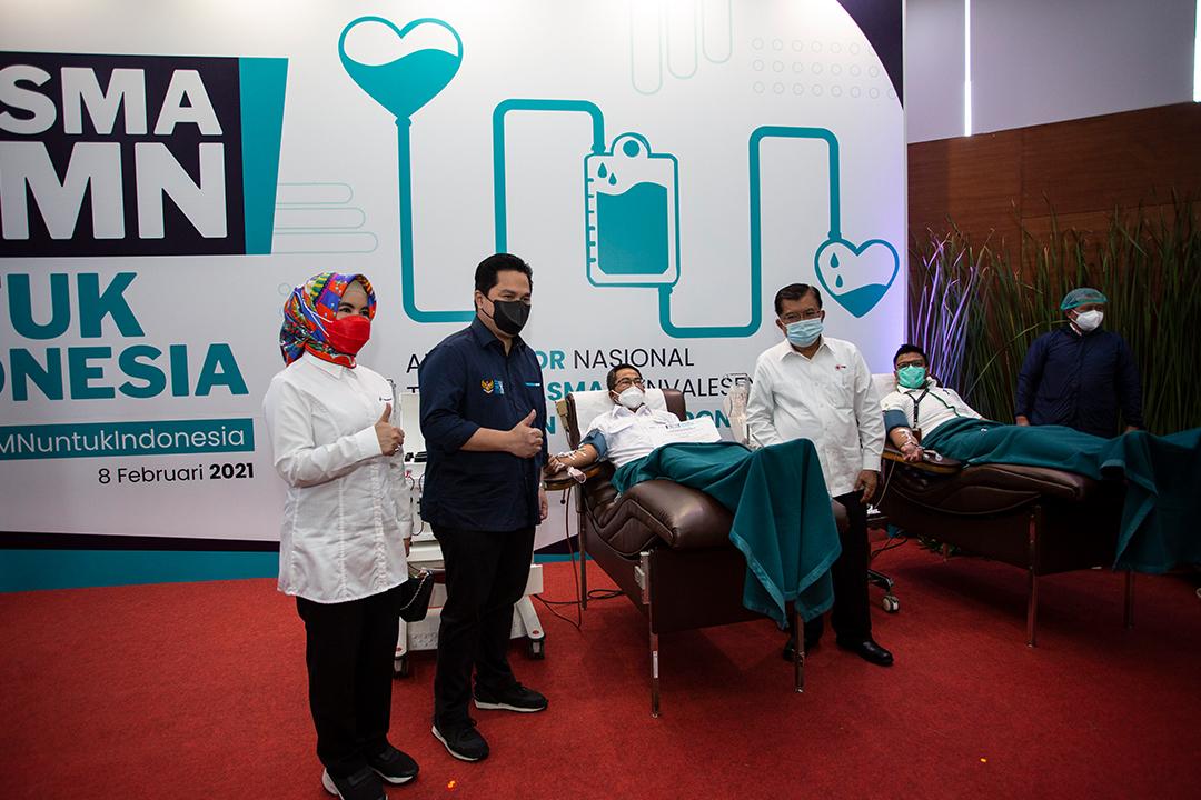Menteri BUMN Erick Thohir, memimpin launching program Plasma BUMN untuk Indonesia di Kantor Pusat Pertamina, Jakarta Pusat, Senin (8/2)