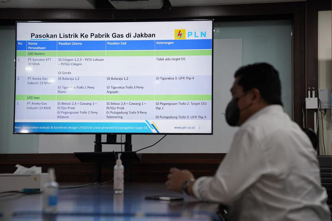 Menteri Badan Usaha Milik Negara (BUMN) Erick Thohir melakukan inspeksi mendadak (sidak) ke PLN Unit Induk Pusat Pengatur Beban (UIP2B) Jawa, Madura dan Bali (Jamali) di Depok, Jawa Barat pada Selasa (6/7/2021) malam
