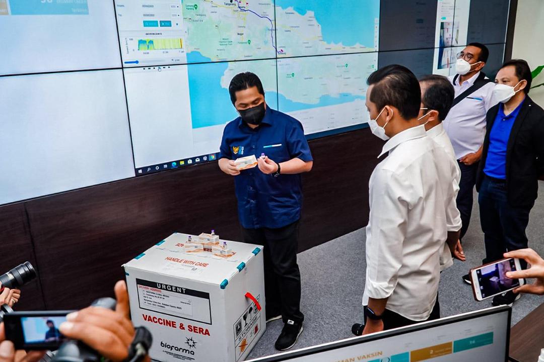 Menteri BUMN Erick Thohir saat mengunjungi PT Bio Farma (Persero)/Bio Farma