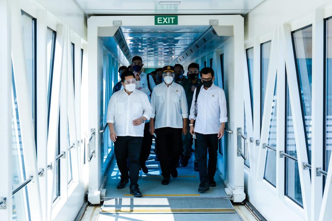 Banten, Sabtu (25/7) Menteri BUMN Erick Thohir meresmikan layanan pembelian tiket ferry berbasis online Ferizy di Terminal Eksekutif Merak