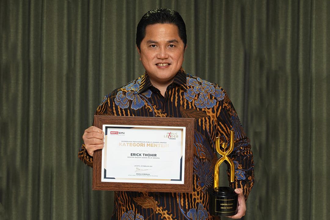 "Menteri BUMN) Erick Thohir menjadi salah satu penerima ""Beritasatu Public Leader Awards"" yang diselenggarakan Beritasatu"