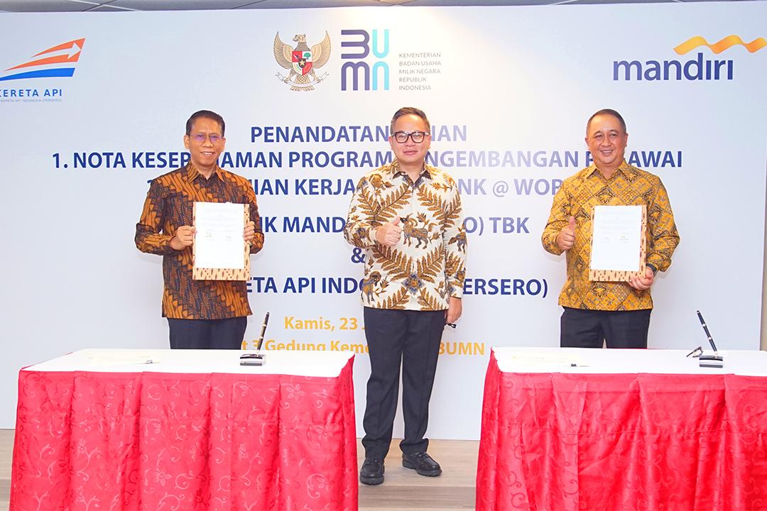 Penandatanganan Nota Kesepahaman Program Pengembangan Pegawai dan Perjanjian Kerjasama Bank antara PT Bank Mandiri (Persero) dan PT Kereta Api Indonesia (Persero)