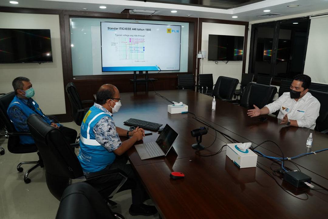 Menteri Badan Usaha Milik Negara (BUMN) Erick Thohir melakukan inspeksi mendadak (sidak) ke PLN Unit Induk Pusat Pengatur Beban (UIP2B) Jawa, Madura dan Bali (Jamali) di Depok, Jawa Barat pada Selasa (6/7/2021) malam.