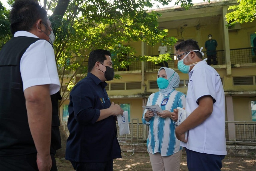 Menteri BUMN Pastikan Karyawan Isoman BUMN di Sumatera Selatan Terjamin Obat dan Perawatan