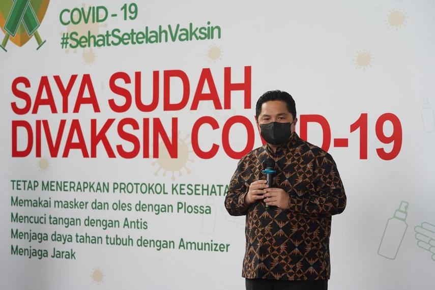 Menteri BUMN Erick Thohir Apresiasi Gerakan Antar Rakyat Gelar Sentra Vaksinasi