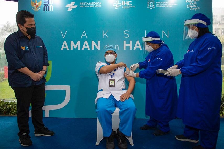 Menteri Erick Thohir Optimistis Vaksinasi Tenaga Kesehatan Lindungi dan Perkuat Motivasi Perangi COVID-19