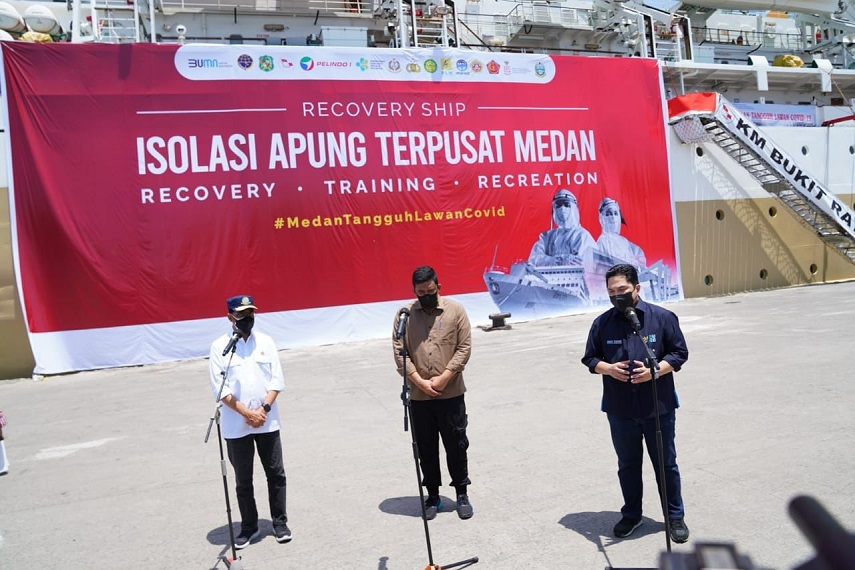 Bangun Fasilitas Isoter Kapal Laut di Medan, Menteri BUMN: Untuk Ringankan Beban Pasien Covid 19