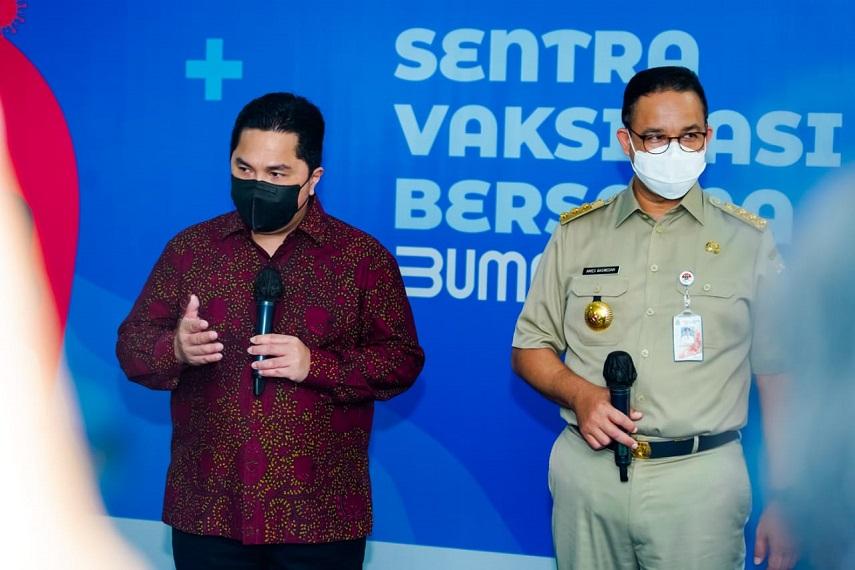 Menteri Erick Thohir: Sentra Vaksinasi Bersama Siap Vaksin 5000 Lansia Setiap Hari